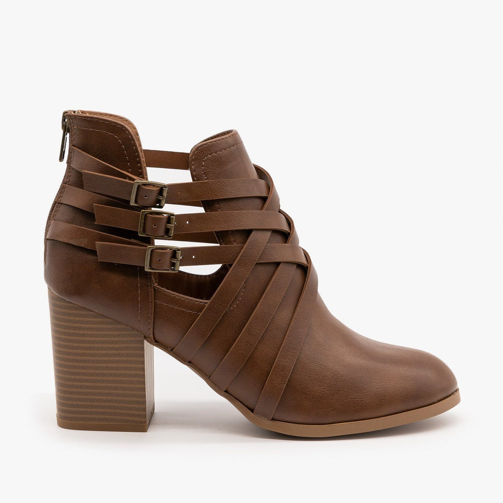 Womens Woven Triple Buckle Booties - Soda Shoes - Cognac / 5