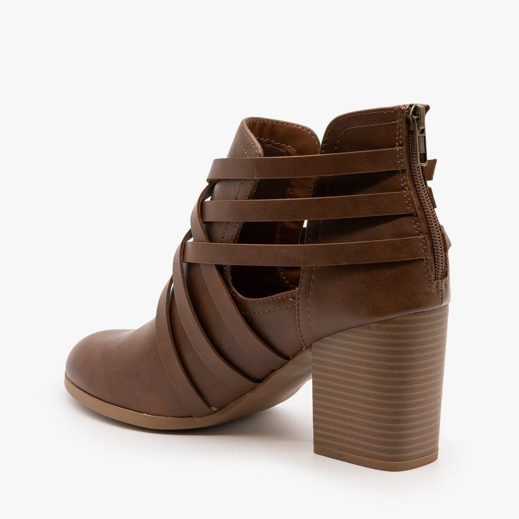Womens Woven Triple Buckle Booties - Soda Shoes
