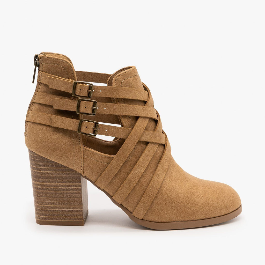 Womens Woven Triple Buckle Booties - Soda Shoes - Natural / 5