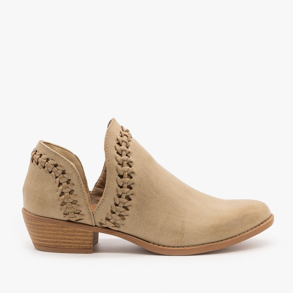 Womens Woven V-Cut Ankle Booties - Qupid Shoes - Taupe / 5