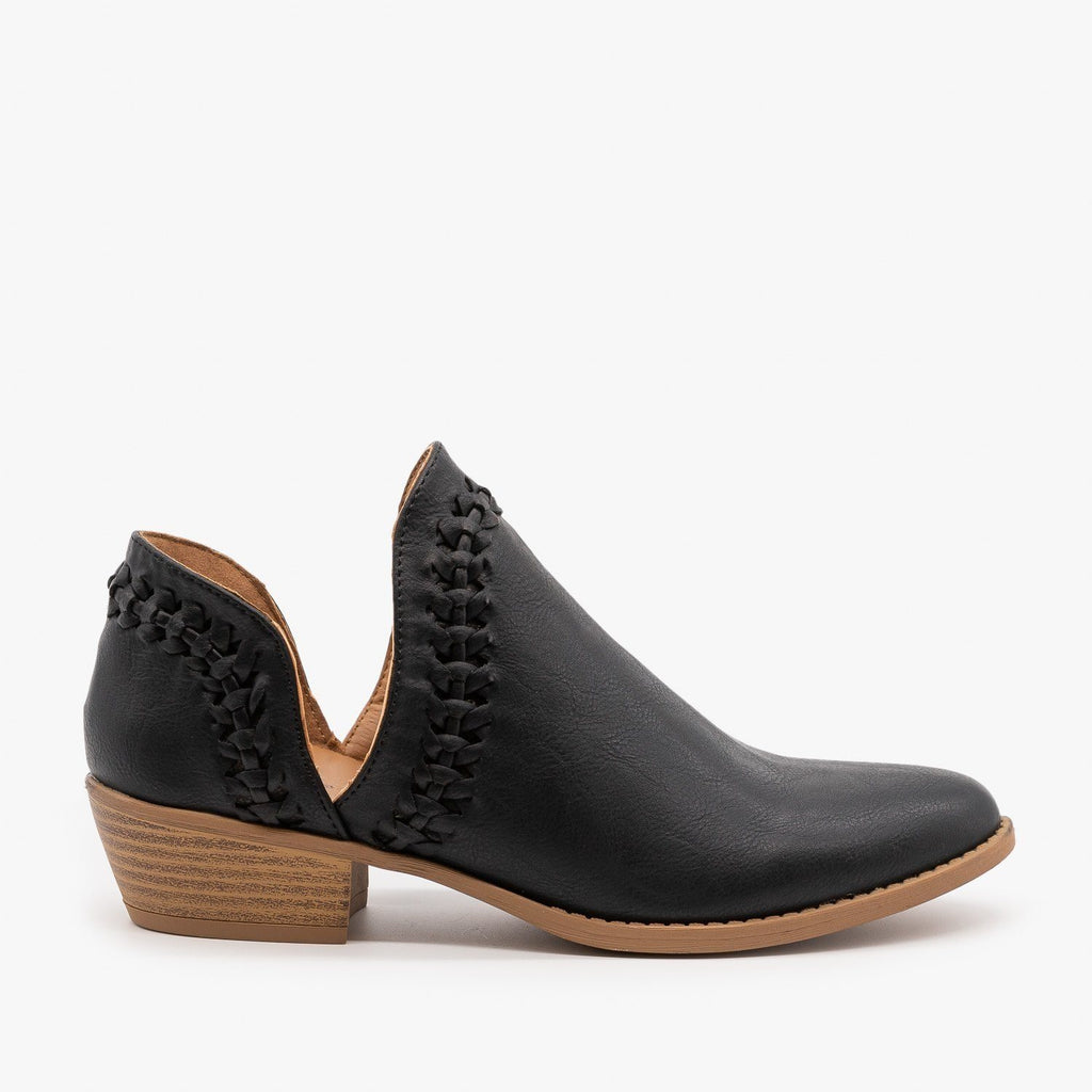 Womens Woven V-Cut Ankle Booties - Qupid Shoes - Black / 5