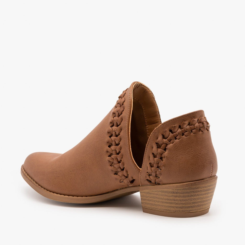 Womens Woven V-Cut Ankle Booties - Qupid Shoes