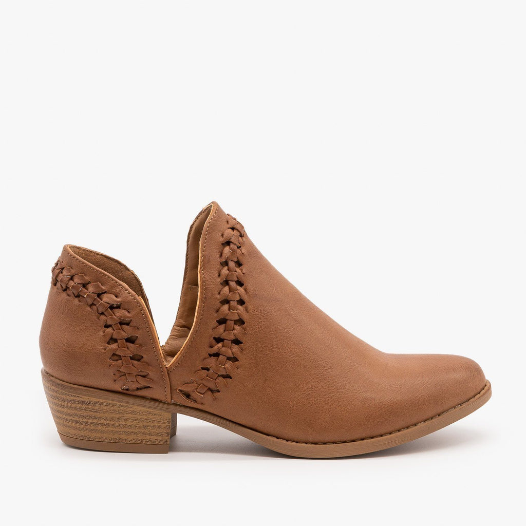 Womens Woven V-Cut Ankle Booties - Qupid Shoes - Light Brown / 5