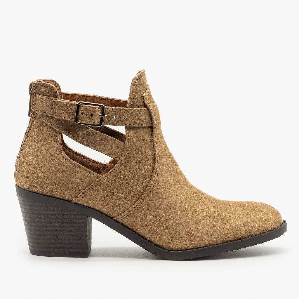 Womens Wrap Around Ankle Strap Booties - Soda Shoes - Light Taupe / 5