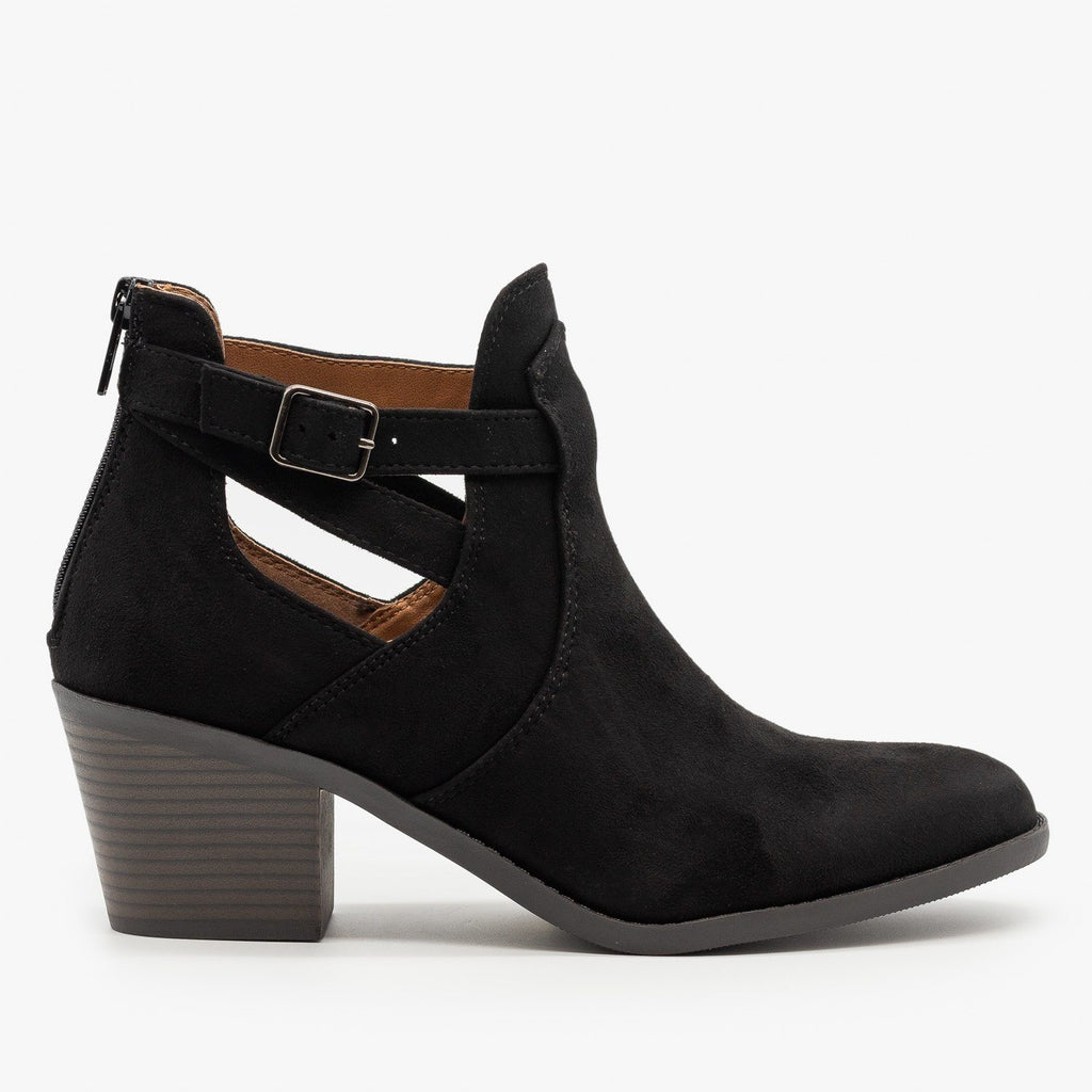 Womens Wrap Around Ankle Strap Booties - Soda Shoes - Black / 5