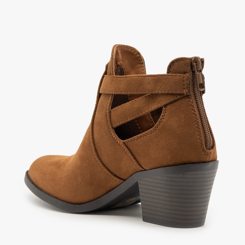 Womens Wrap Around Ankle Strap Booties - Soda Shoes
