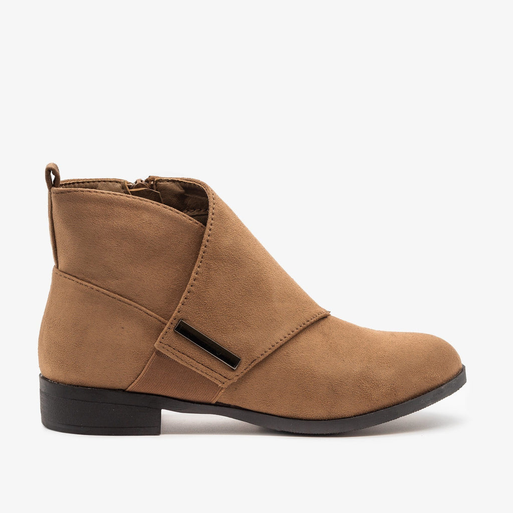 Womens Wrap Over Ankle Booties - Weeboo - Taupe / 5