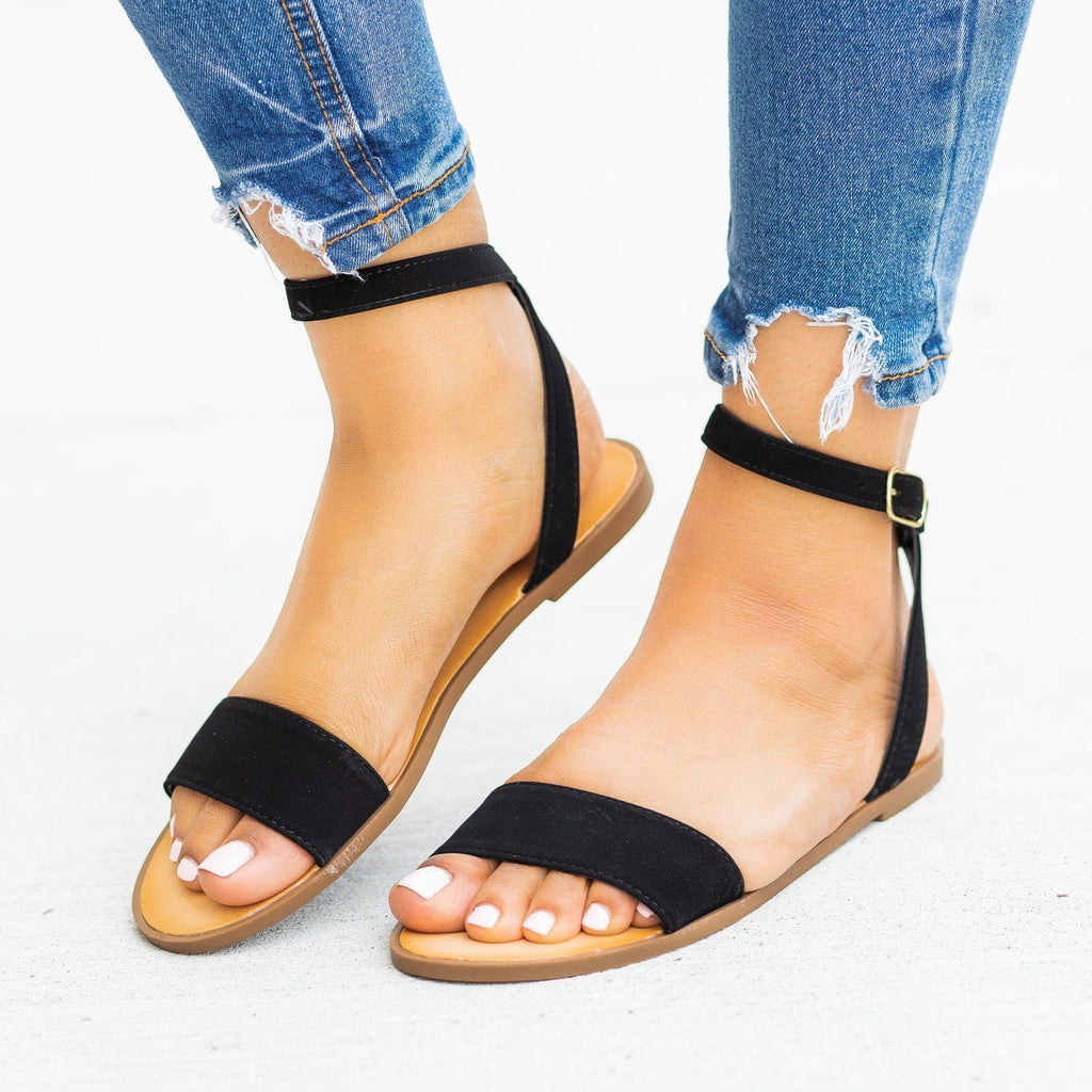Womens Wraparound Ankle Strap Sandals - Soda Shoes - Black / 5