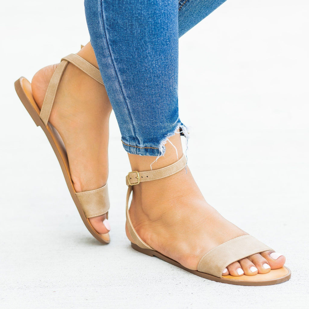 Womens Wraparound Ankle Strap Sandals - Soda Shoes - Camel / 5