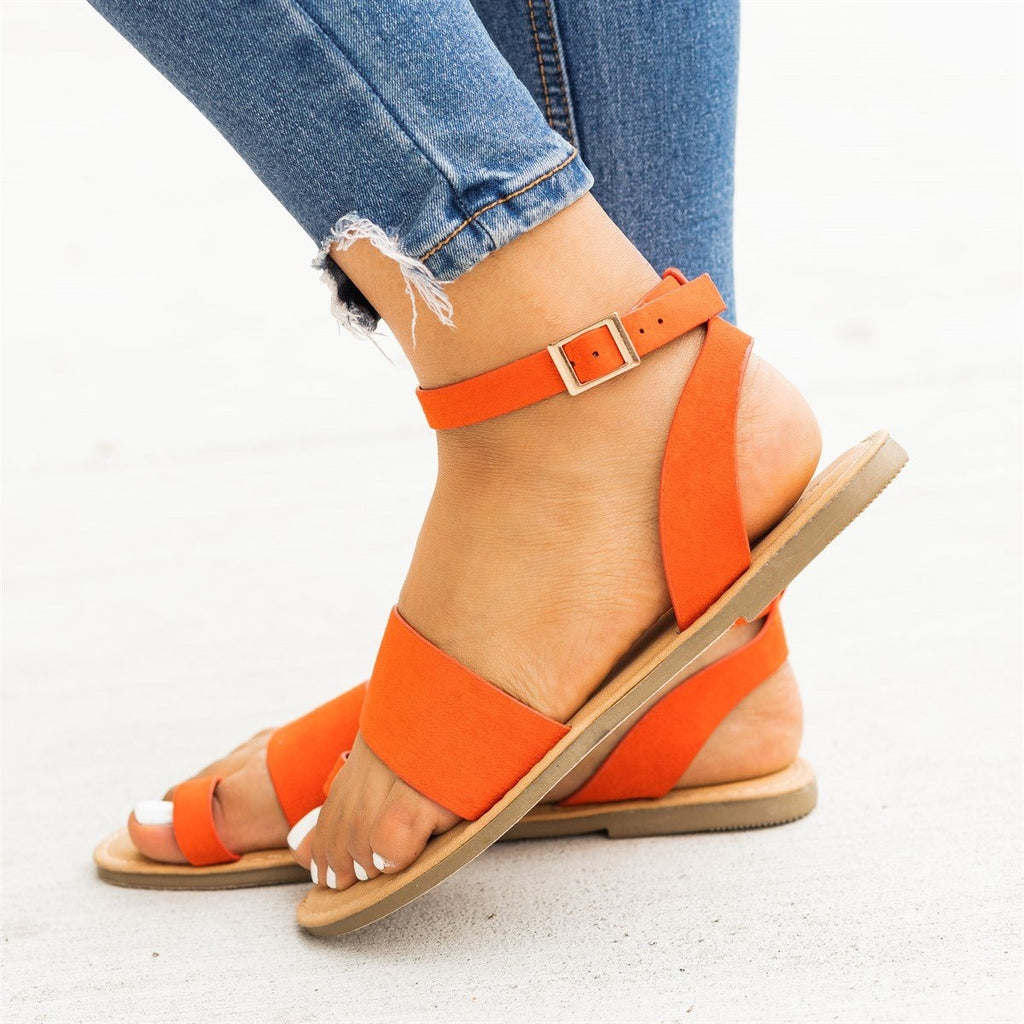 Womens Wraparound Ankle Strap Toe Sandals - Bamboo Shoes - Orange / 5