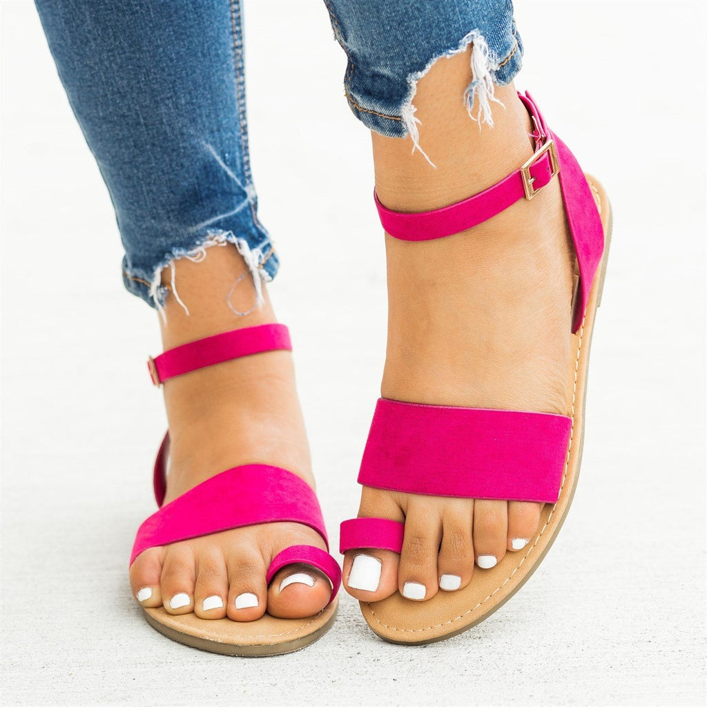 Womens Wraparound Ankle Strap Toe Sandals - Bamboo Shoes - Fuchsia / 5