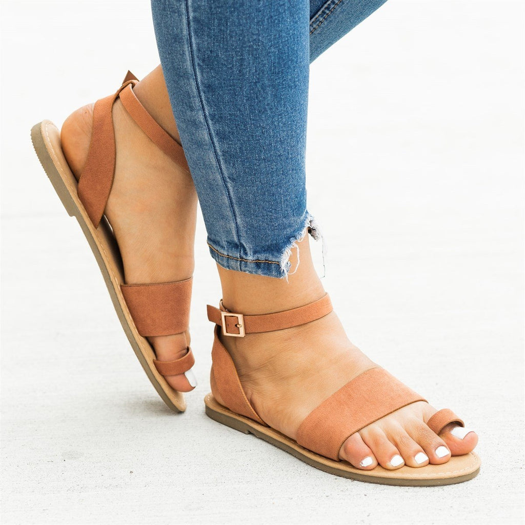 Womens Wraparound Ankle Strap Toe Sandals - Bamboo Shoes