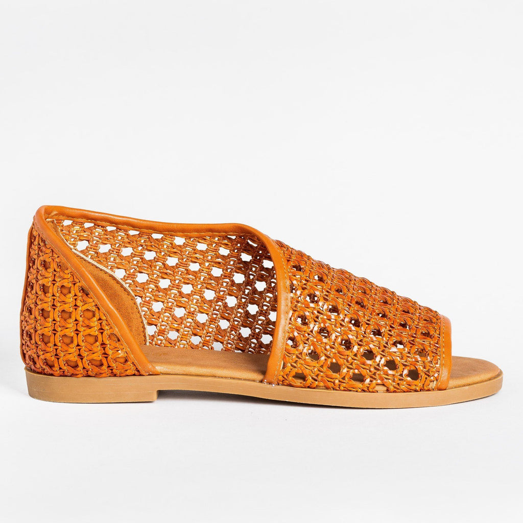 Womens Wraparound Basketweave Open-Toe Flats - Bamboo Shoes - Chestnut / 5