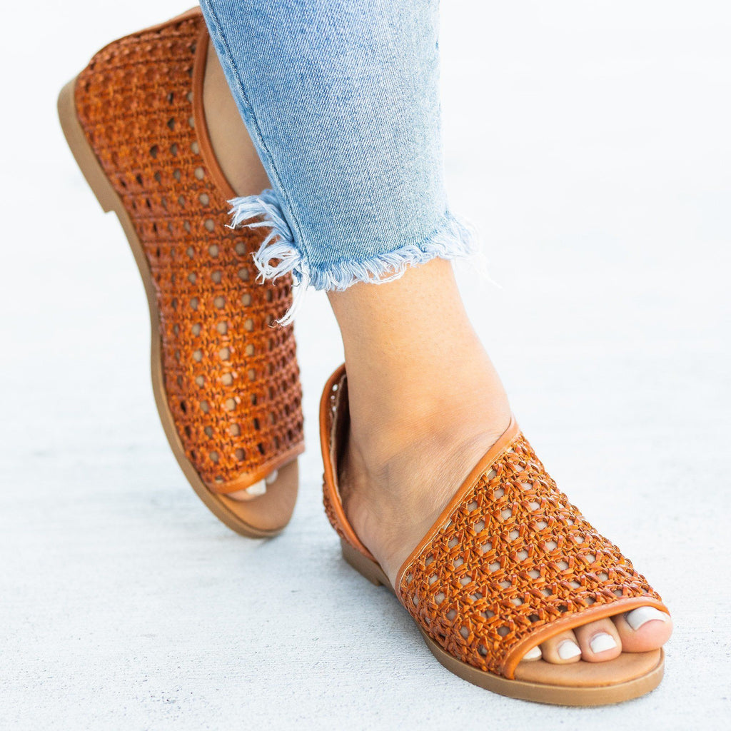 Womens Wraparound Basketweave Open-Toe Flats - Bamboo Shoes