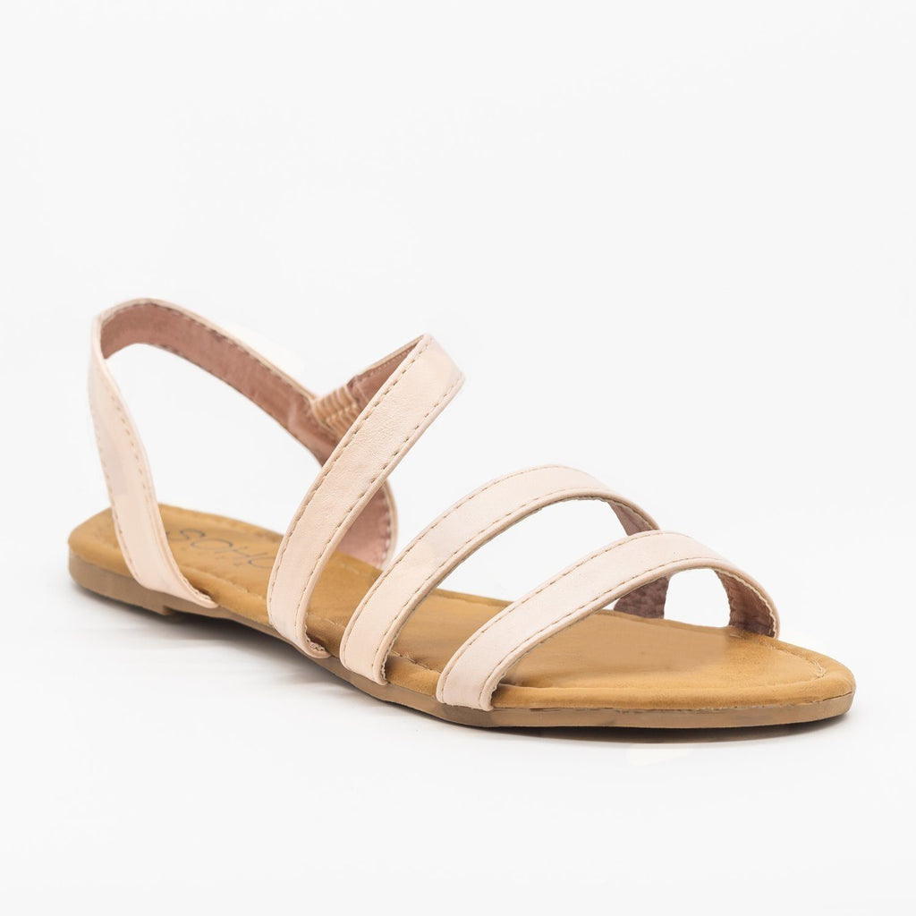Womens Wraparound Strap Slingback Sandals - Soho Girls - Blush / 5