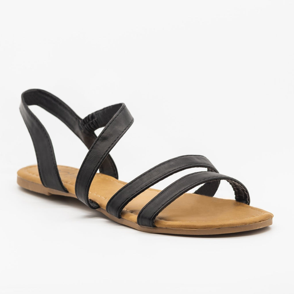 Womens Wraparound Strap Slingback Sandals - Soho Girls - Black / 5