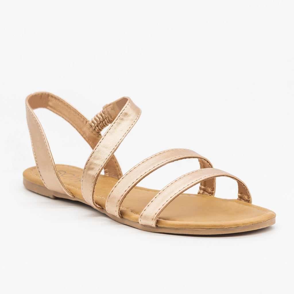 Womens Wraparound Strap Slingback Sandals - Soho Girls - Rose Gold / 5