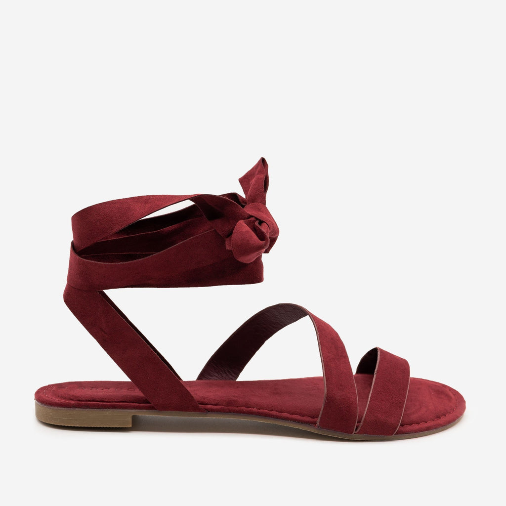 Women's Wrapped Strappy Sandals - Bamboo - Burgundy / 5