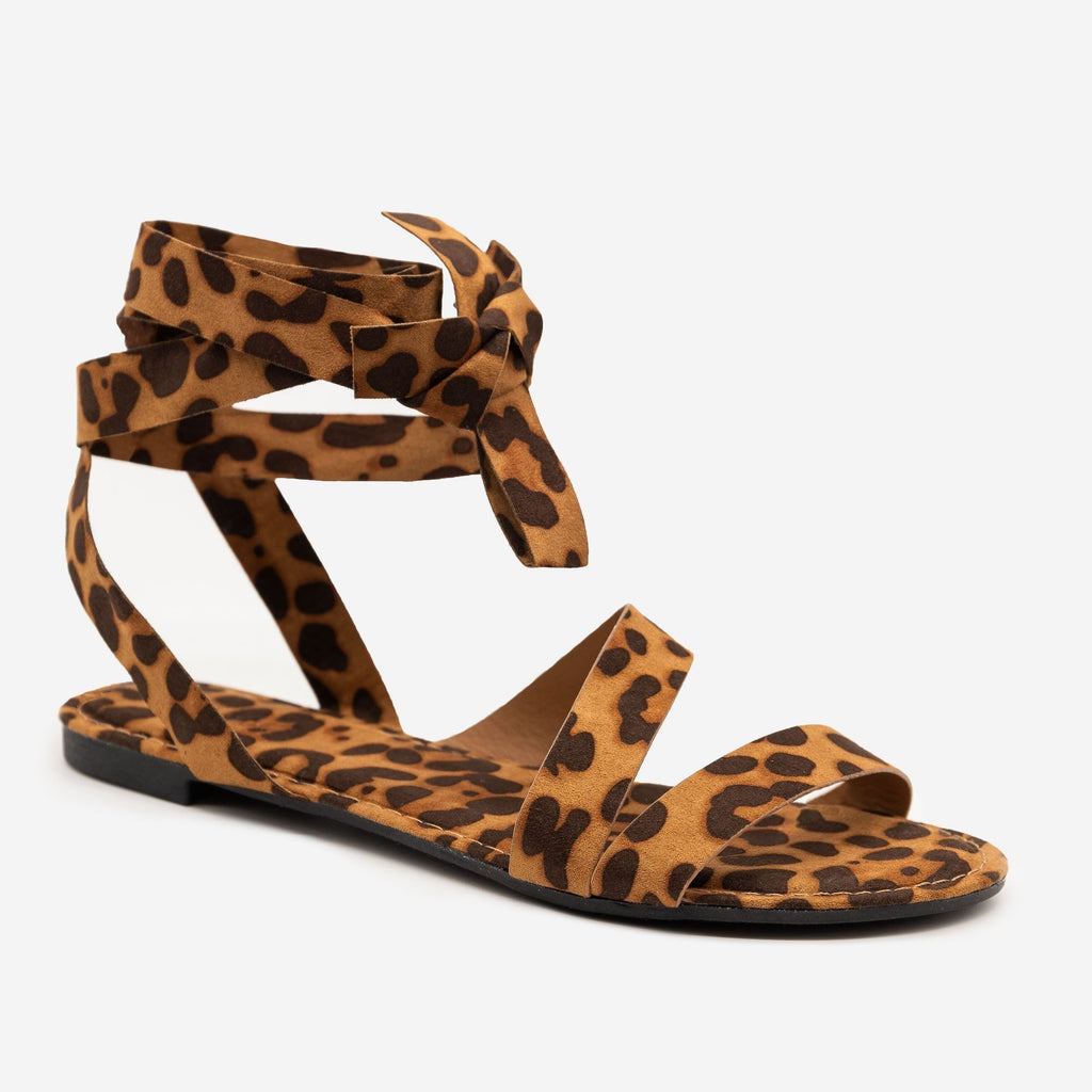 Women's Wrapped Strappy Sandals - Bamboo - Leopard / 5