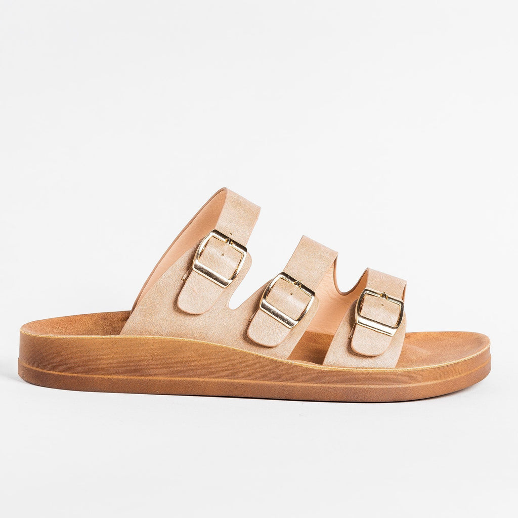 Womens Zig Zag Buckled Slides - Forever - Taupe / 5