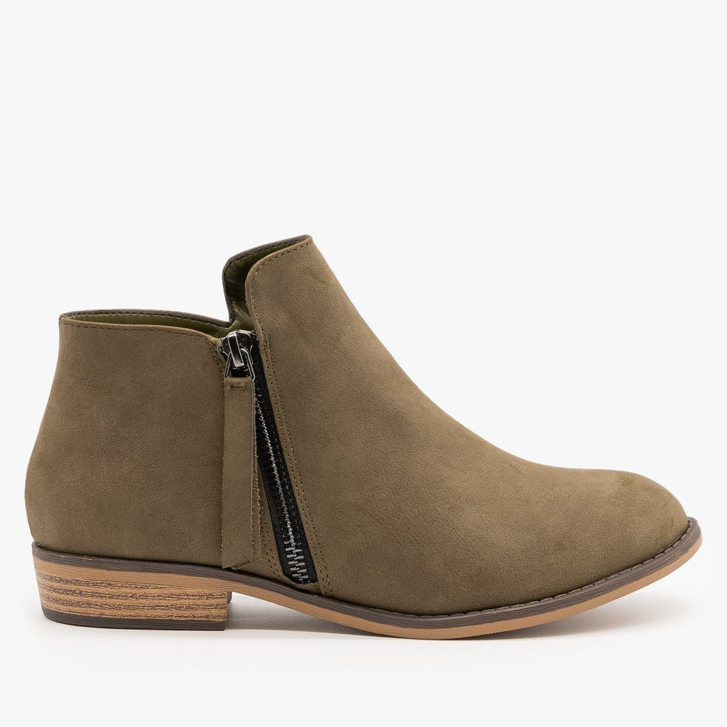 Womens Zip-up Ankle Booties - City Classified Shoes - Olive / 5