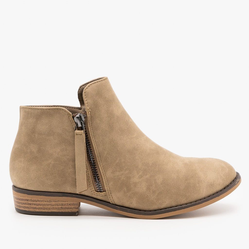 Womens Zip-up Ankle Booties - City Classified Shoes - Light Taupe / 5