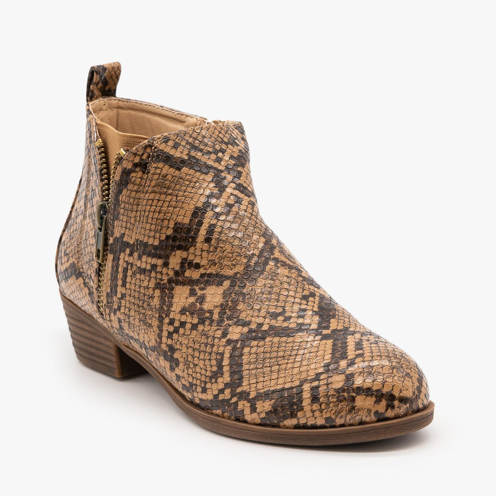 Womens Zip-Up Everyday Booties - Mata - Brown Snake / 5