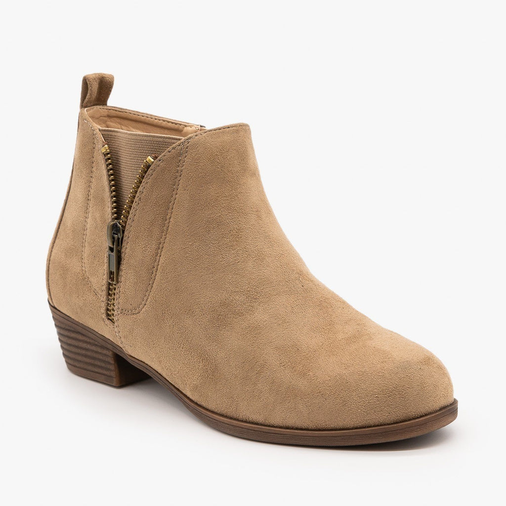 Womens Zip-Up Everyday Booties - Mata - Taupe / 5