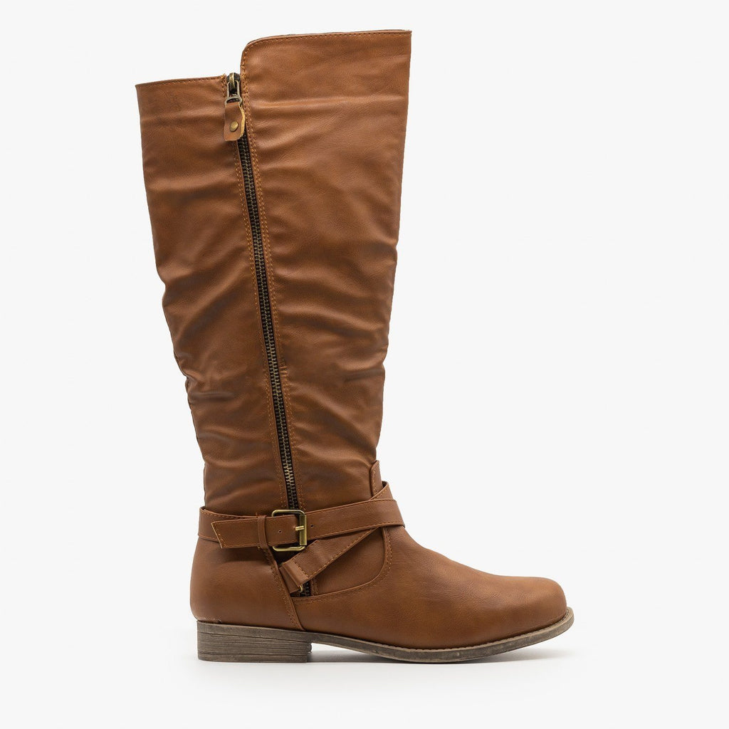 Womens Zipper Accented Riding Boots - Fashion Focus - Cognac / 5