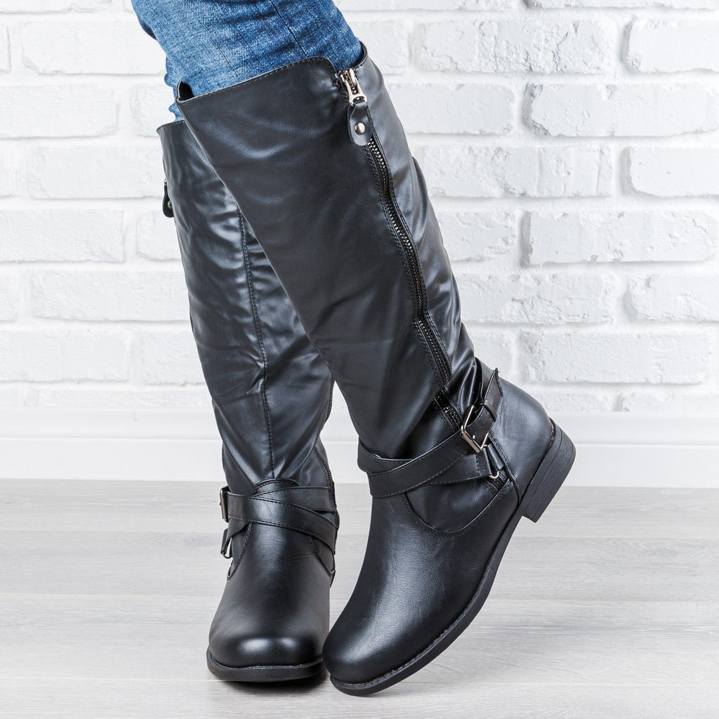 Womens Zipper Accented Riding Boots - Fashion Focus - Black / 5