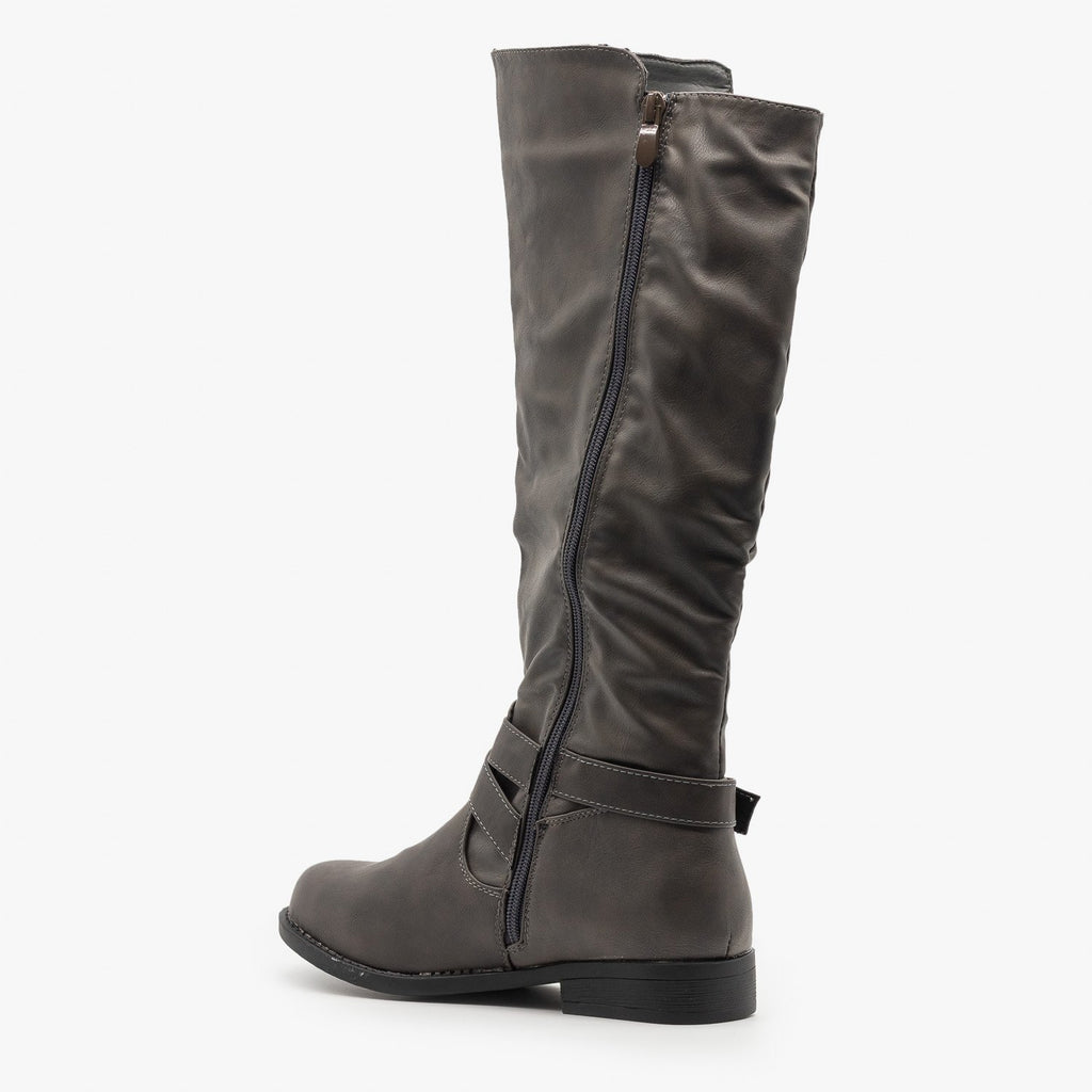 Womens Zipper Accented Riding Boots - Fashion Focus