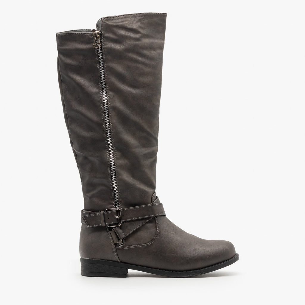 Womens Zipper Accented Riding Boots - Fashion Focus - Gray / 5