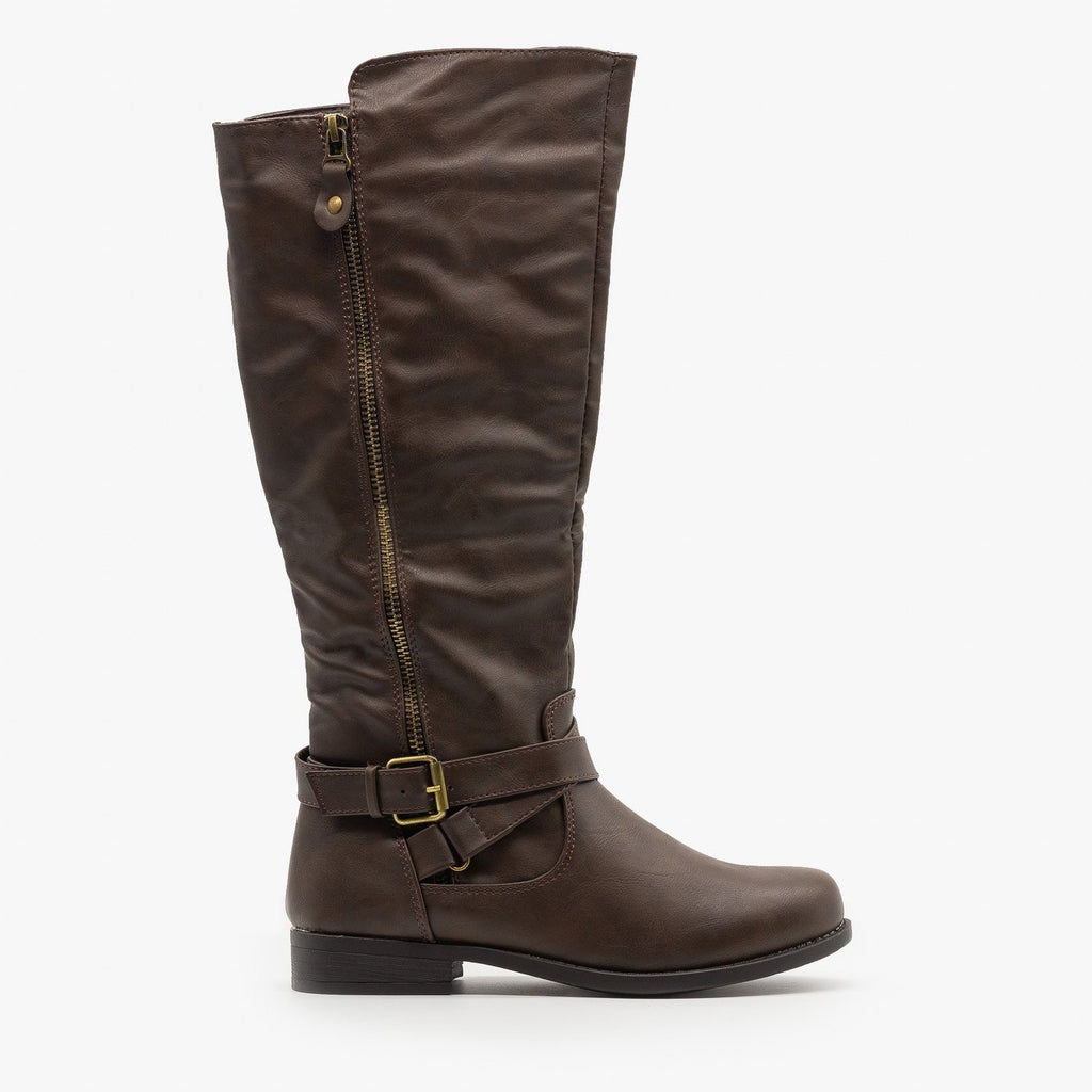 Womens Zipper Accented Riding Boots - Fashion Focus - Brown / 5