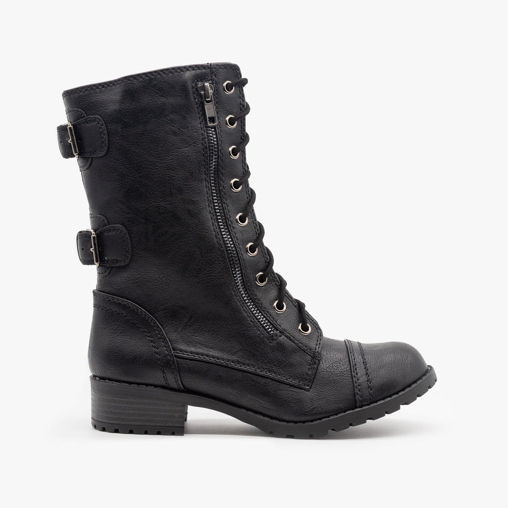Womens Zipper Detail Combat Boots - Soda Shoes - Black / 5