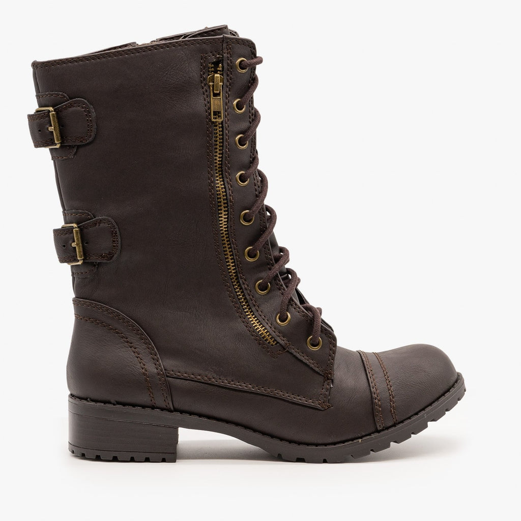 Womens Zipper Detail Combat Boots - Soda Shoes
