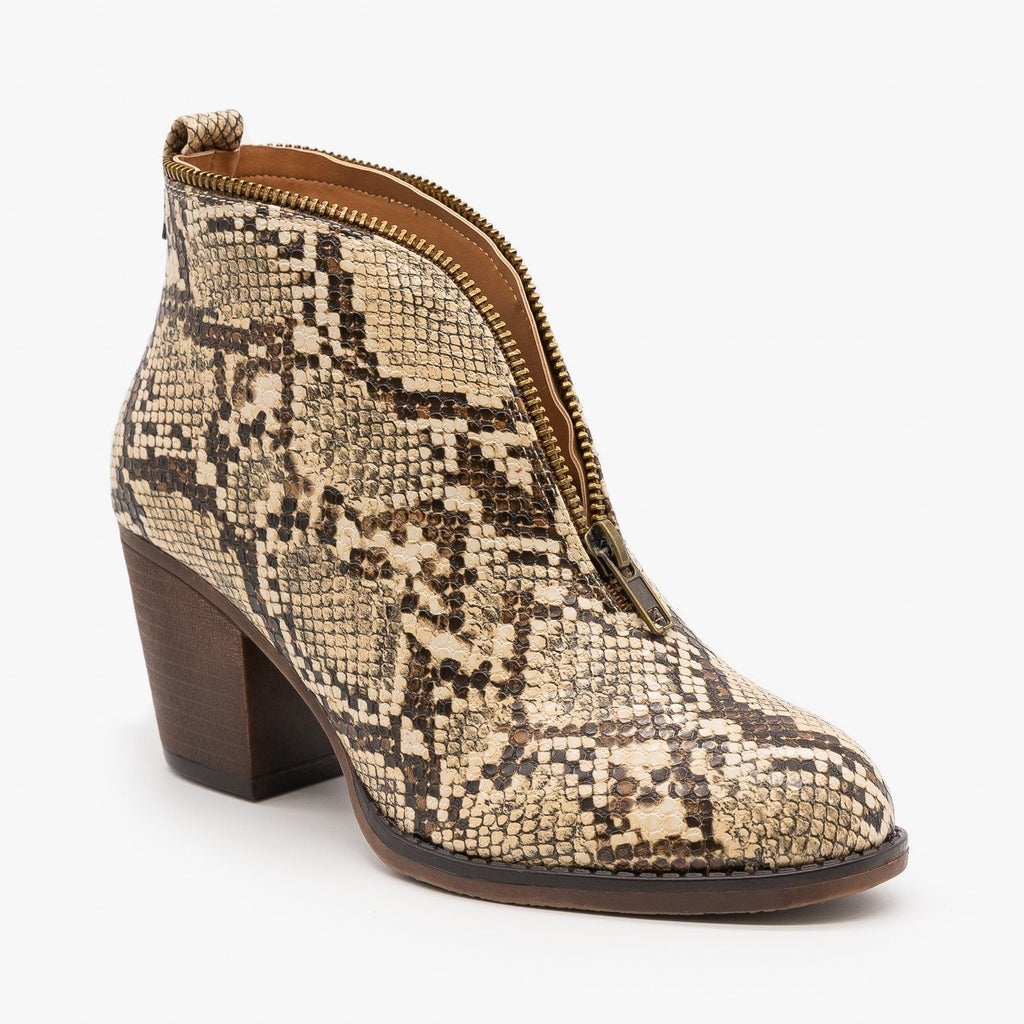 Womens Zippered Animal Print Booties - Mata - Light Snake / 5