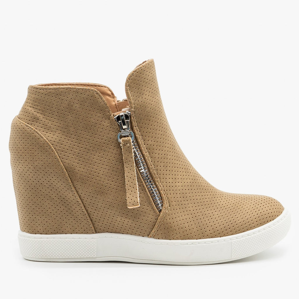 Womens Zippered Pinhole Wedge Sneakers - AMS Shoes - Mid Tan / 5