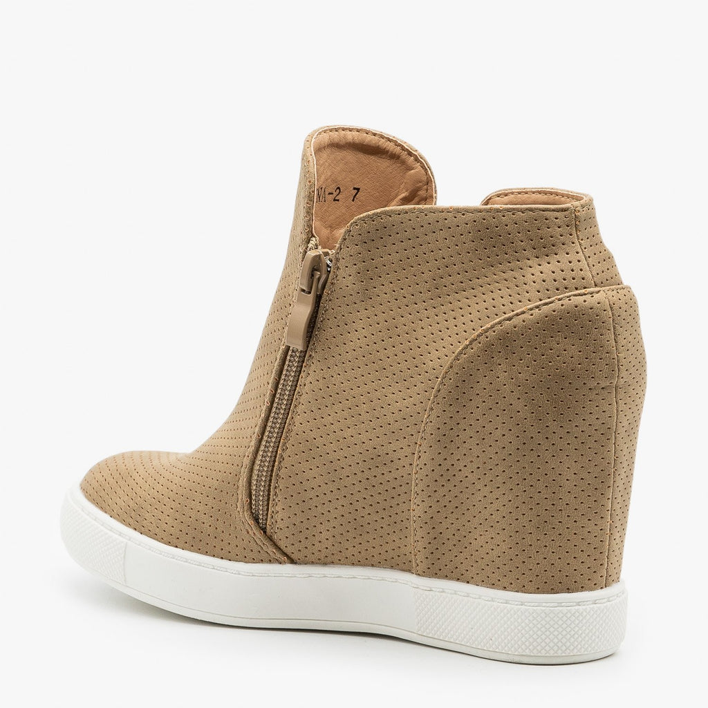 Womens Zippered Pinhole Wedge Sneakers - AMS Shoes