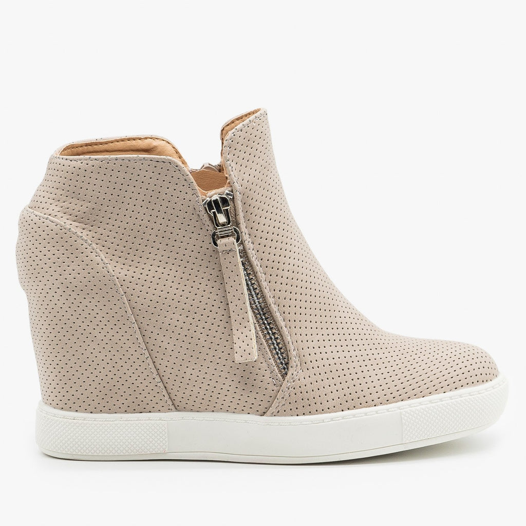 Womens Zippered Pinhole Wedge Sneakers - AMS Shoes - Taupe / 5