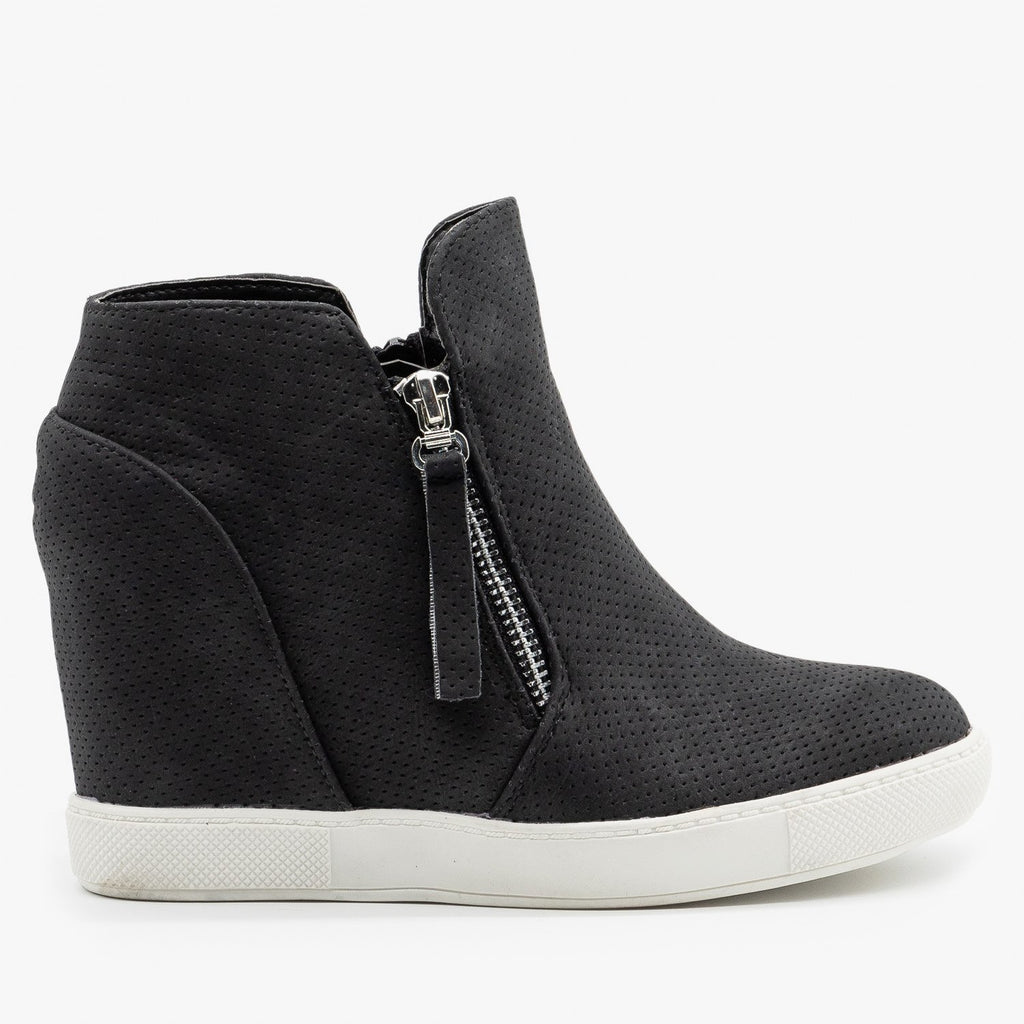 Womens Zippered Pinhole Wedge Sneakers - AMS Shoes - Black / 5