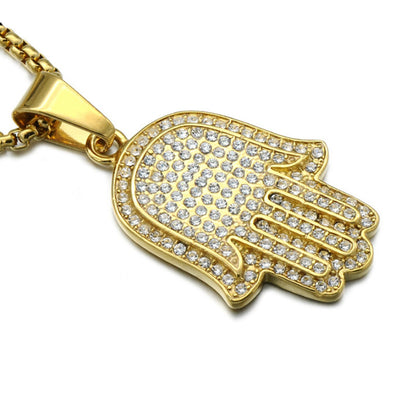 Gold Fatima's hand Necklace