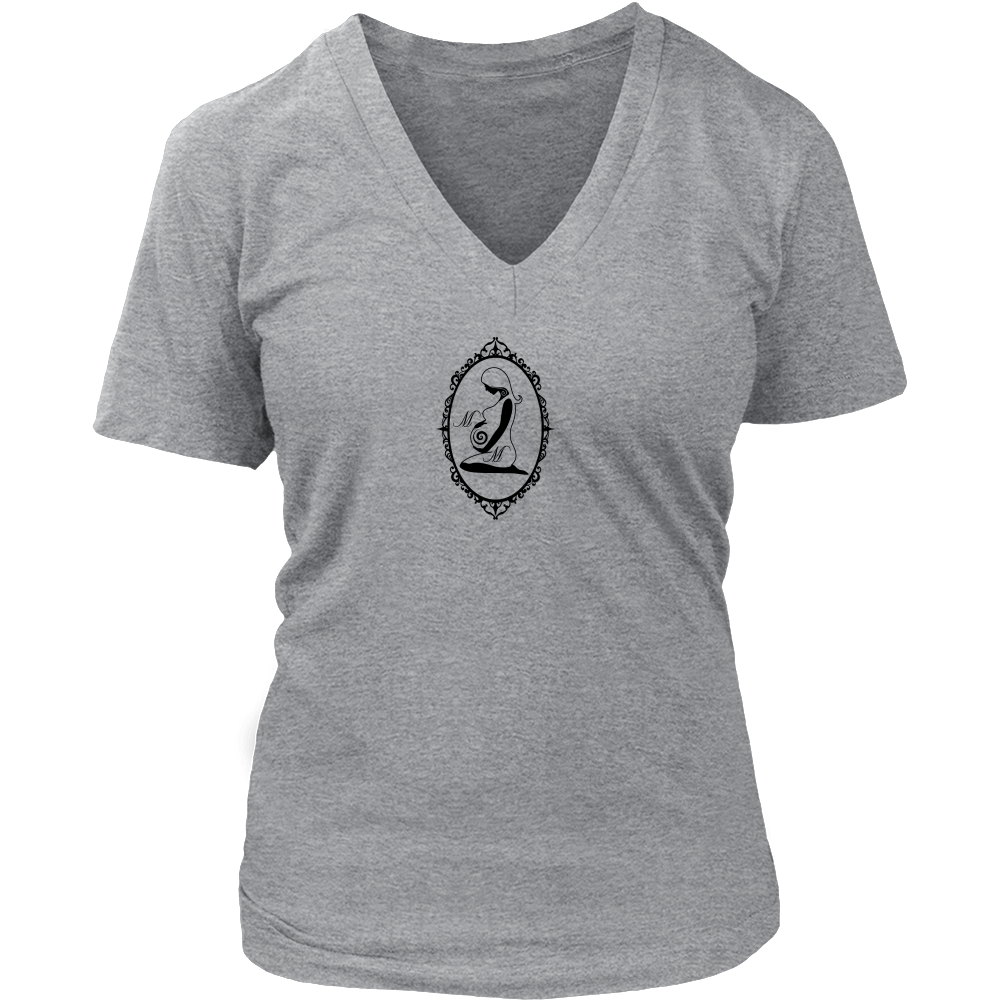 Tee shirt with v-neck fits moms and wives to a T.