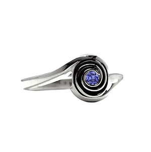 Mother's Ring White Gold Jewelry, birthstone and engraved, gift for mom and wife, stacking