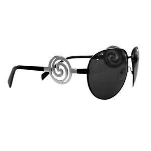 Sunglasses are polarized designer aviators with spirals for moms.