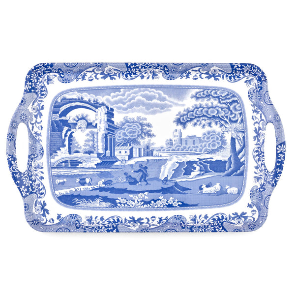 Blue Italian Large Melamine Handled Tray