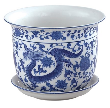 Blue and White Dragon Planter and Saucer