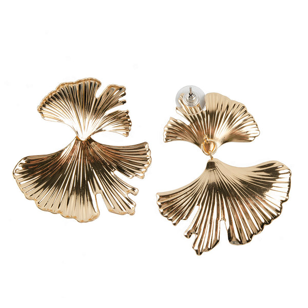 The Double Gold Gingko Earring
