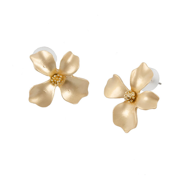 Gold Camellia Earring