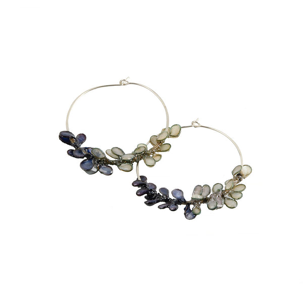 Indigo Cherry Blossom Hoop Earrings