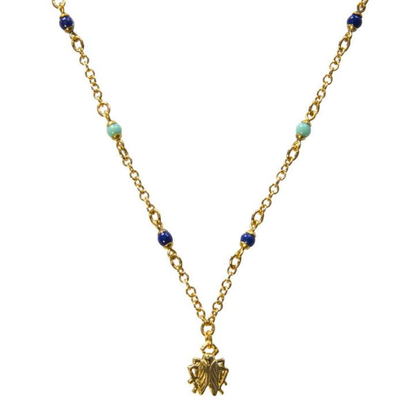 Goldbug Tangled Up in Blue Tiny Bug Necklace